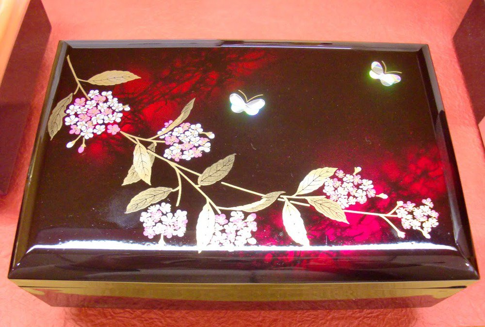 Made in JAPAN! Jewelry case with music box Accessory Resin Cherry Blossoms NEWFS