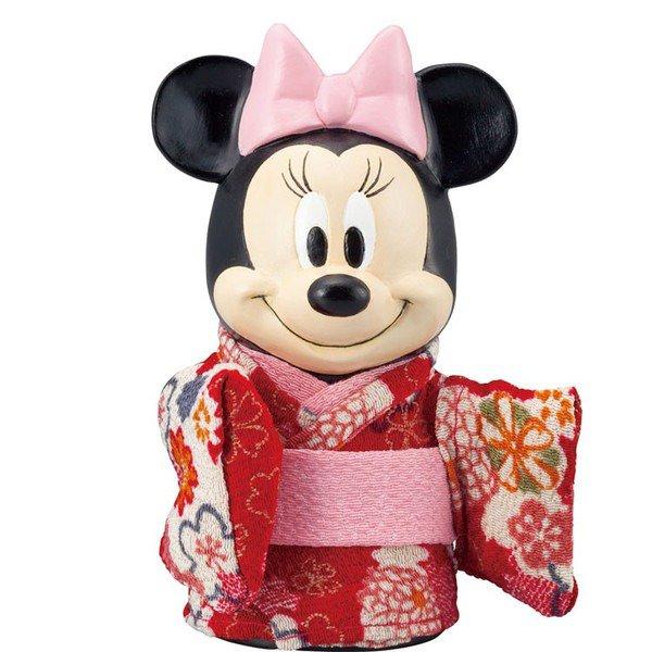 �Disney Maiko Minnie Piggy bank kimono doll Pottery figure MADE IN JAPAN NEW FS�