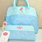❦ Disney Little Mermaid Ariel Tote bag & Sebastian long wallet Set Handbag F/S