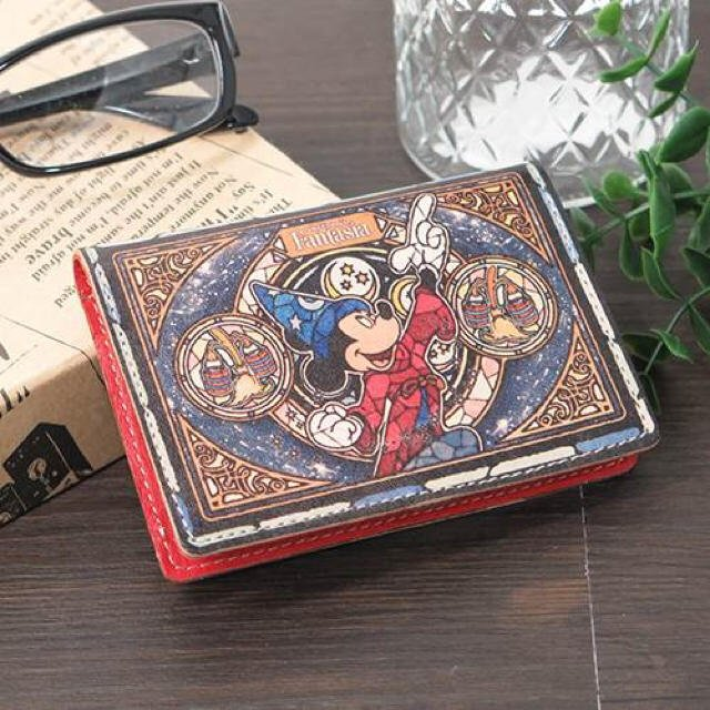 Mickey mouse leather Folded Pass Case Stained glass fantasia Made in Japan FS