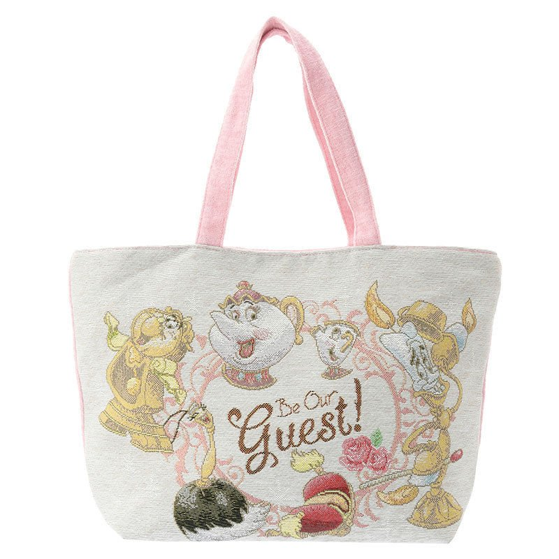 �Disney store Beauty and the Beast Tote Bag Mrs. Pot & Chip Be our guest NEW FS�