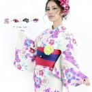 Cherry blossoms White Sakura Yukata +Obi band + Getaclogs + Corsage Set Kimono M