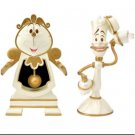 Disney Cogsworth Clock & Lumiere light Set Beauty & the beast Be our guestFigure