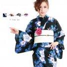 SAKURA White Cherry blossoms Black Yukata +Obi + Geta + Corsage Set Kimono M