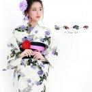 Girl Black Butterfly White Yukata +Obi + Geta + Corsage Set Kimono M NEW
