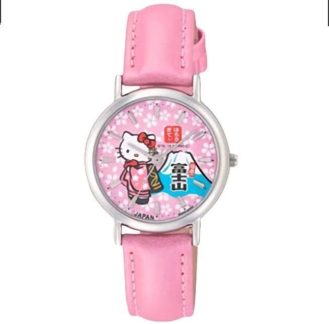 Made in Japan Hello Kitty SAKURA Fuji san Wrist watch Cherry Blossom pink NEW FS