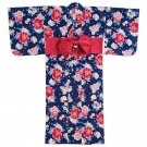 Summer! Sanrio Hello kitty Yukata Dark blue Free cotton kimono JAPAN NEWF/S