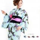 Girl Mint blue Butterfly Light blue Yukata +Obi + Geta + Corsage Set Kimono NEW