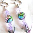 SAKURA Cherry blossoms Pierced Earrings Origami Crane Swarovski Glass purple NEW