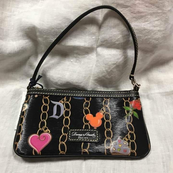 Disney x Dooney & Bourke Pouchette Handbag charm pattern Pouch Wallet case Black