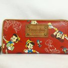 Disney store limited Pinocchio Long Wallet leather round purse Red F/S