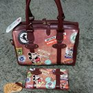 Disney Mickey Mouse Donald Vintage Boston Bag & Wallet Set hand Brown leather