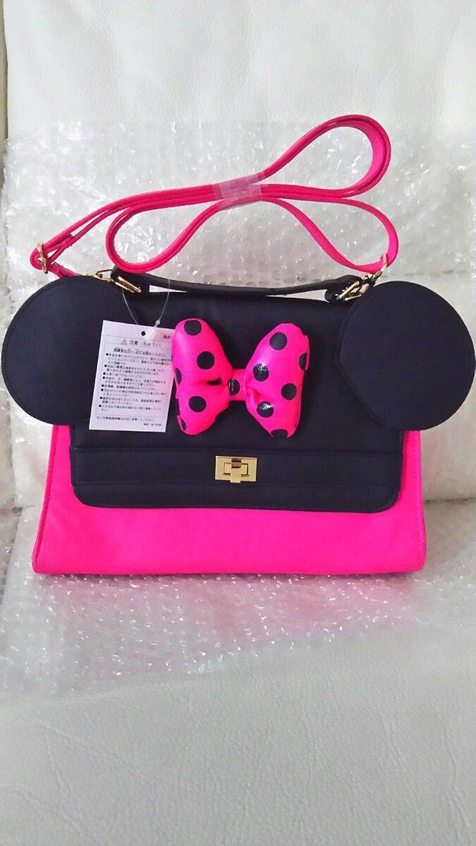 Tokyo Disneyland  Minnie mouse 2WAY pink Ribbon Shoulder Bag Hand Polka dot Ears
