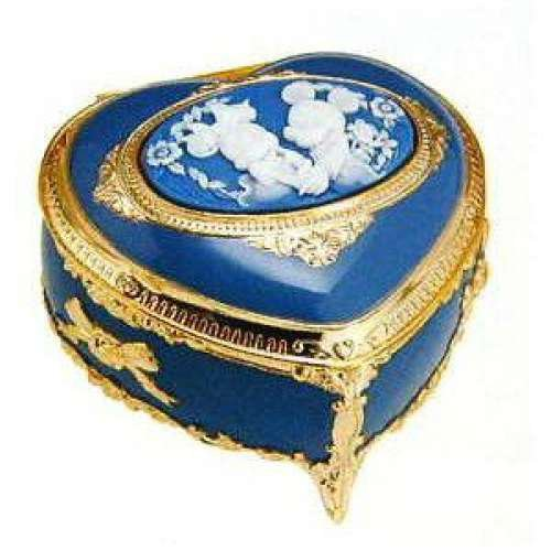 Mickey Minnie Cameo Antimony Music box Heart Blue Jewelry box Accessory case FS