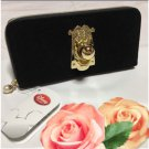 Disney Store Alice in Wonderland Gold Doorknob long wallet Black purse case FS