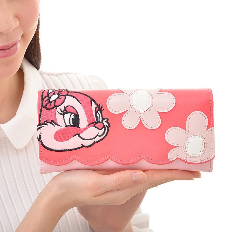 Disney store limited Clarice long Wallet pink leather Chip dale purse Japan NEW