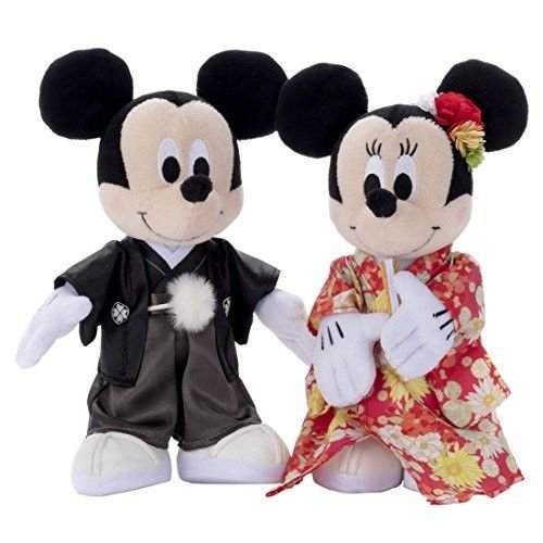 2017 Bridal Mickey & Minnie Mouse Wedding doll set in Kimono figure FS Japan