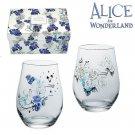 Disney Alice in Wonderland blue Rose Pair tumbler glass made in Japan Gift