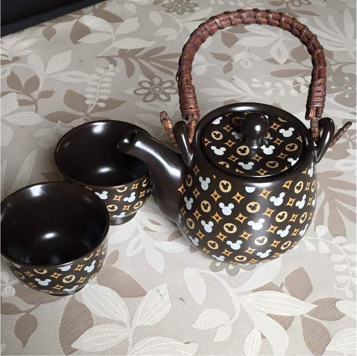 Mickey Mouse Tea pot & Tea Cup Set Black Japanese Style Porcelain Kyusu Yunomi