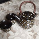 Mickey Mouse Tea pot & Tea Cup Set Black Japanese Style Porcelain Kyusu Yunomi