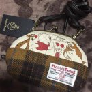 Disney x Harris Tweed Winning the Pooh Coin Pouch Strap wallet Shoulder purse FS