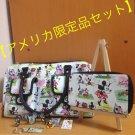 Disney Magic Kingdom Mickey & Minnie Mouse Bag & Long Purse & Pins Key Holder