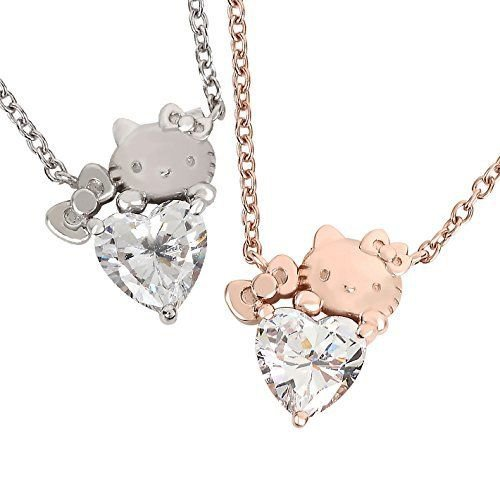 Hello Kitty Heart Pendant Necklace Pink Gold Plated x silver 925 Swarovski Japan
