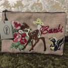 Disney Character Bambi Fold Embroidery Flat Pouch Accessory Case