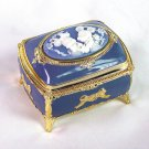 Disney Risort Mickey & Minnie Antimony Music Box Jewelry Box Blue Jewelry Case