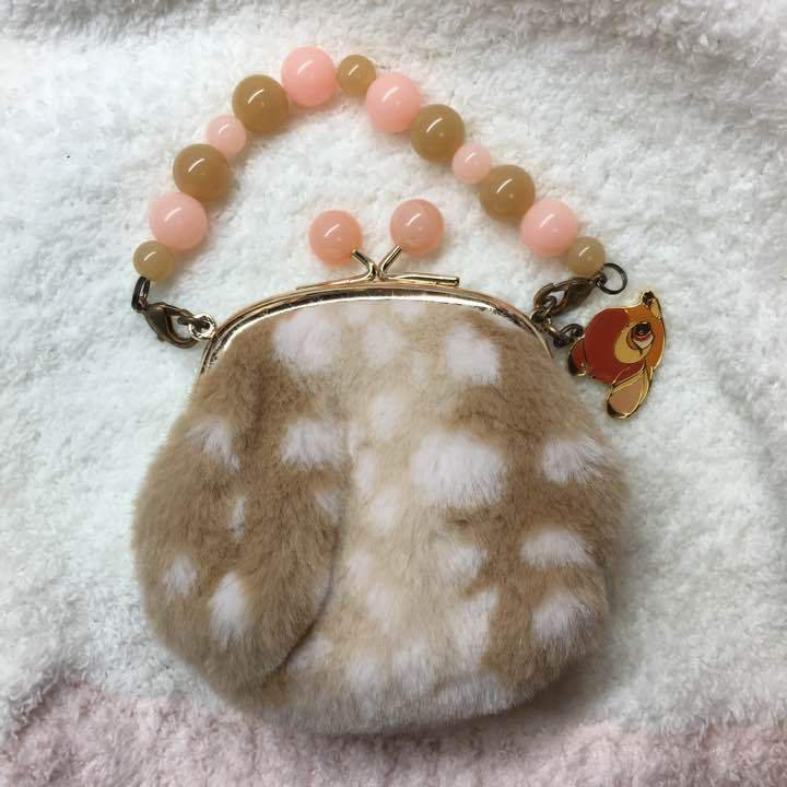 Tokyo Disneyland Sea limited Bambi fur Pouch Coin purse With charm wallet