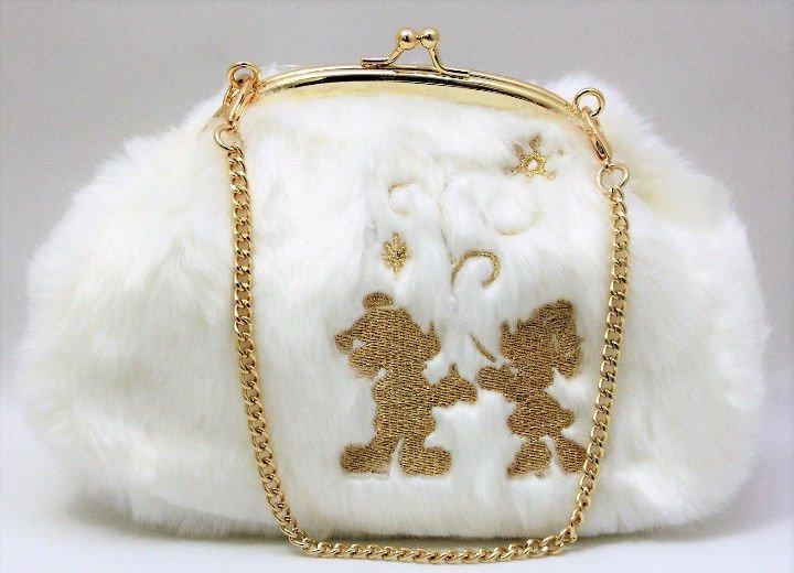 Disney 2017 Christmas Character goods Mickey & Minnie Fur Mini Pouch Chain Bag