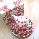 Mickey Mouse Franc francTea For One Coffee Tea pot & cup & Dish Set Red porcelan