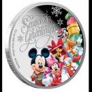 Disney 2015 Christmas Memorial Silver Mickey & Friends Coin Niue 1 dollar color