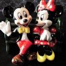 1983 Tokyo Disneyland Mickey & Minnie Pottery Figure Vintage Ornament Doll