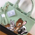 Disney Store Japan Bambi & Thumper Embroidery 2 Way Tote Bag Shoulder Hand Green