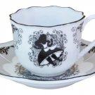 Disney Wonderland Alice porcelain ribbon party cafe cup & saucer set Made in Jap