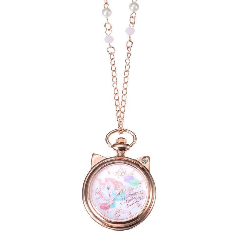 Disney Store Japan Aristocat Marie Pendant Watch Necklace Pink Gold Ladies