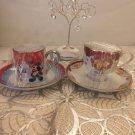 Tokyo Disney Land 2008 Mickey & Minnie Mouse Christmas Tea Cup Set Cafe Mug