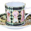 Disney Alice in Wonderland Porcelain Trump Cafe Cup & Saucer Set Made in Japan