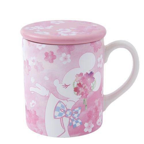Tokyo Disney Resort Minnie Mouse Cherry Blossoms Lidded Mug Cafe Cup Pink TDS