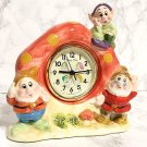 Vintage! Tokyo Disneyland 7 Dwarfs Pottery TV Stand Clock Snow White Table Clock