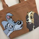 Disney Store Japan Lady and the Tramp Embroidered Tote Bag Handbag Case pouch
