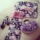 SAKURA Minnie Mouse Cherry blossoms Yukata bag Geta set M Pink Rose Kimono Dress