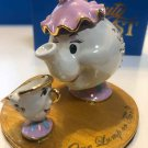 TDL Cinderella Castle Glass Shoes Beauty and the Beast Pot Mrs. & Chip Ornament