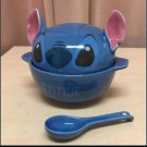 Disney Lilo & Stitch Porcelain bowl Face Earthen pot With a spoon Dishes Japan