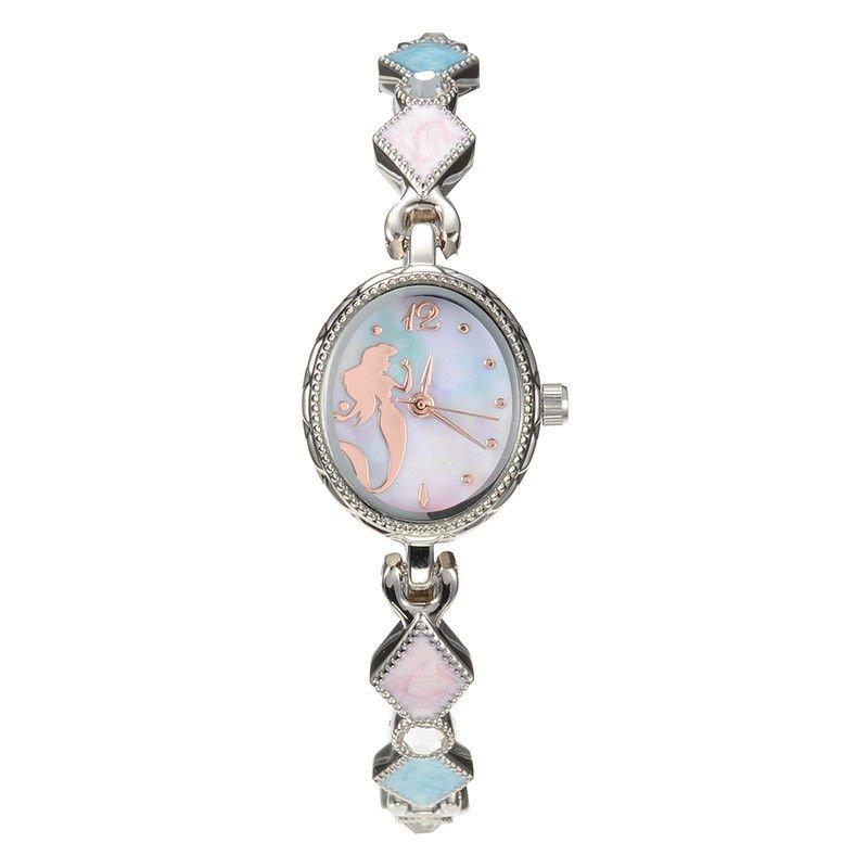 Disney Store Japan Ariel Shell Wrist Watch Silhouette Bangle Stone Jewelry