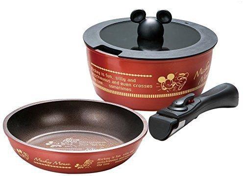 "Mickey Disney ANFP 2 4 point set pot 7.8"" frying pan 7.8"" glass lid 7.8"""