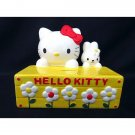 1999 Sanrio Hello Kitty Pottery Piggy Bank XL Rabbit  Yellow Flower garden Box