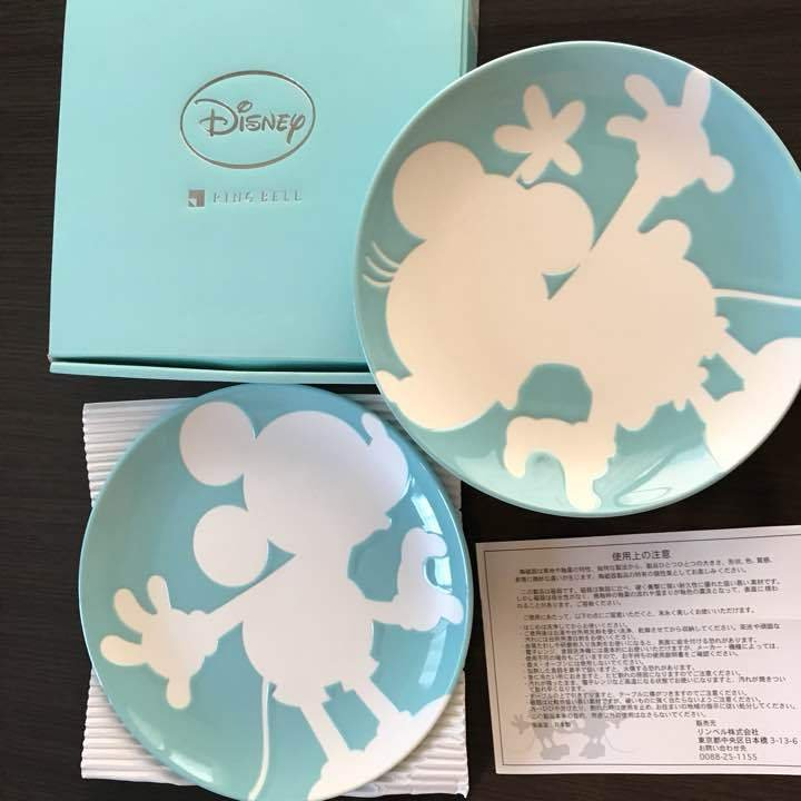Disney Mickey & Minnie Pair Plate Dish Ring bell Blue porcelain