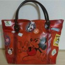 Mickey Mouse Patch Tote Bag L Handbag Case Comic Brown